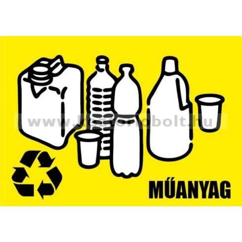 354221 Szelektív hulladékgyűjtő cimke műanyag felirat Sárga