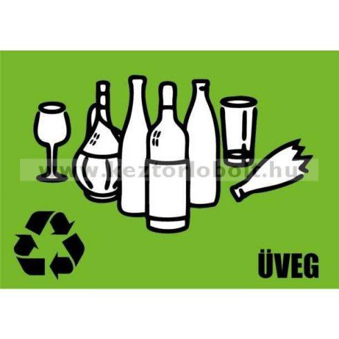 354223 Szelektív hulladékgyűjtő cimke üveg felirat Zöld