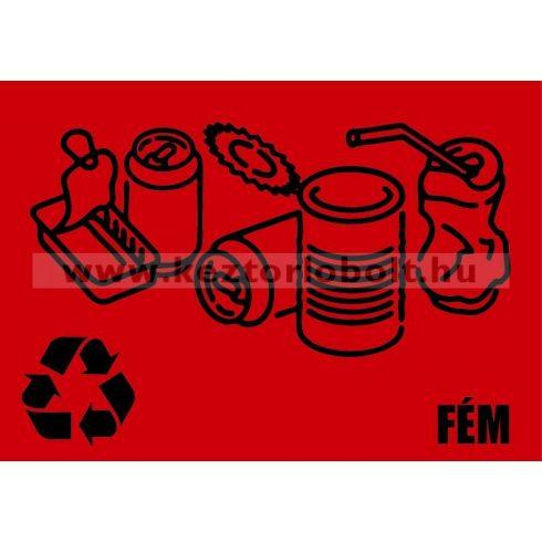 354224 Szelektív hulladékgyűjtő cimke fém felirat piros