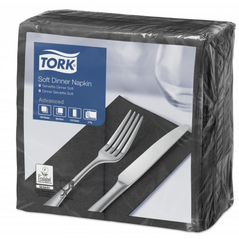 470251 Tork Soft Dinner szalvéta 1/8 Hajtott Fekete
