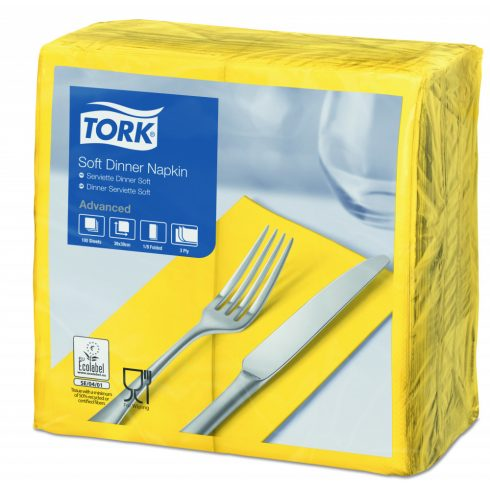 470252 Tork Soft Dinner szalvéta 1/8 Hajtott Sárga