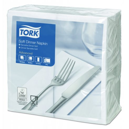 477579 Tork Soft Dinner szalvéta fehér 40/3