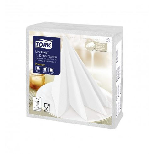 478883 Tork Premium Linstyle Dinner textilhatású szalvéta Fehér