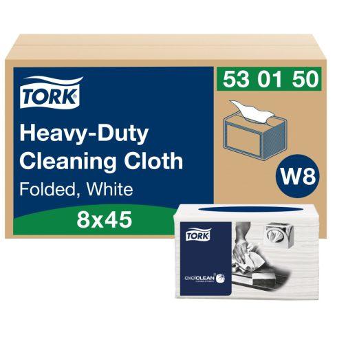 W8 530150 Tork nagy teljesítményű tisztítókendő hajtogatott 530 ipari papírtörlő