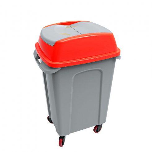 UP222P HIPPO Billenős Szelektív hulladékgyűjtő szemetes kuka piros 70L