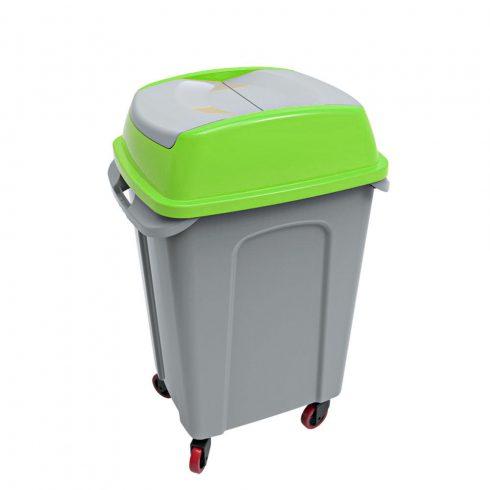 UP222Z HIPPO Billenős Szelektív hulladékgyűjtő szemetes kuka zöld 70L